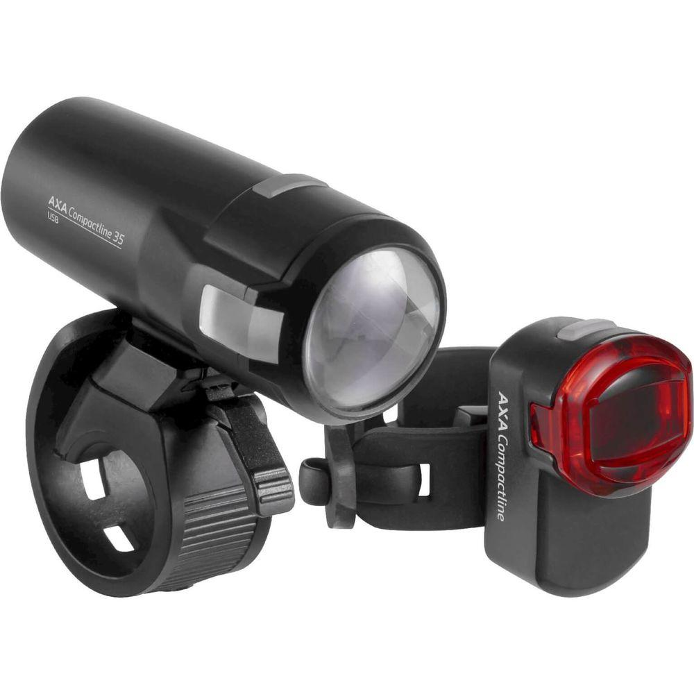 Axa led lamp voor + achter compactline 35 batterij