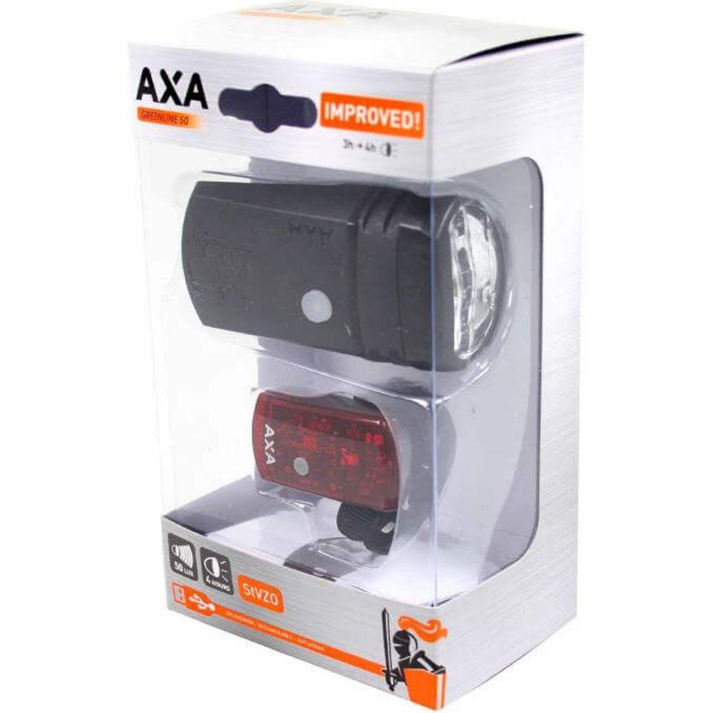 Axa led lamp voor+achter batterij box greenline us