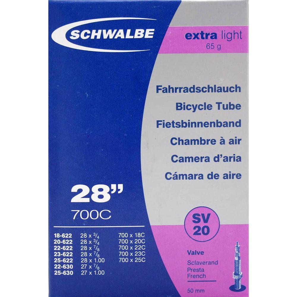 Schwalbe binnenband SV20 Extra Light 28 x 0.75 - 1.00 fv 50mm