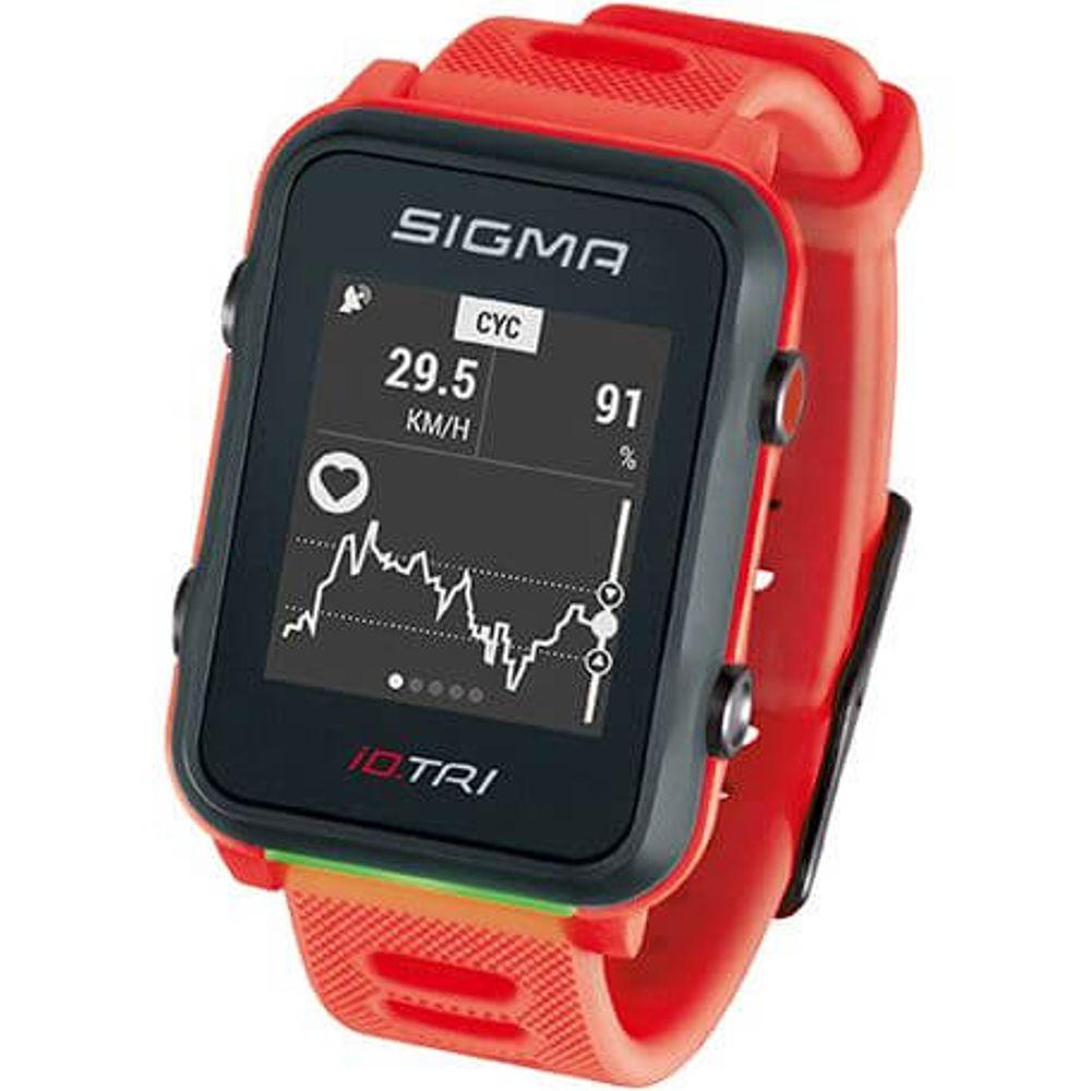 Sigma sporthorloge id.tri neon red met sensorset