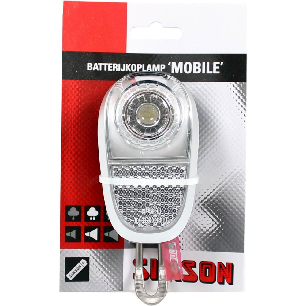 Simson koplamp voor led batterij voorvork 35 lux