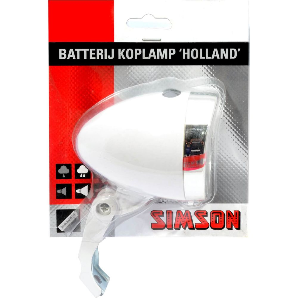 Lamp v led simson batterij 3led holland wit 020772