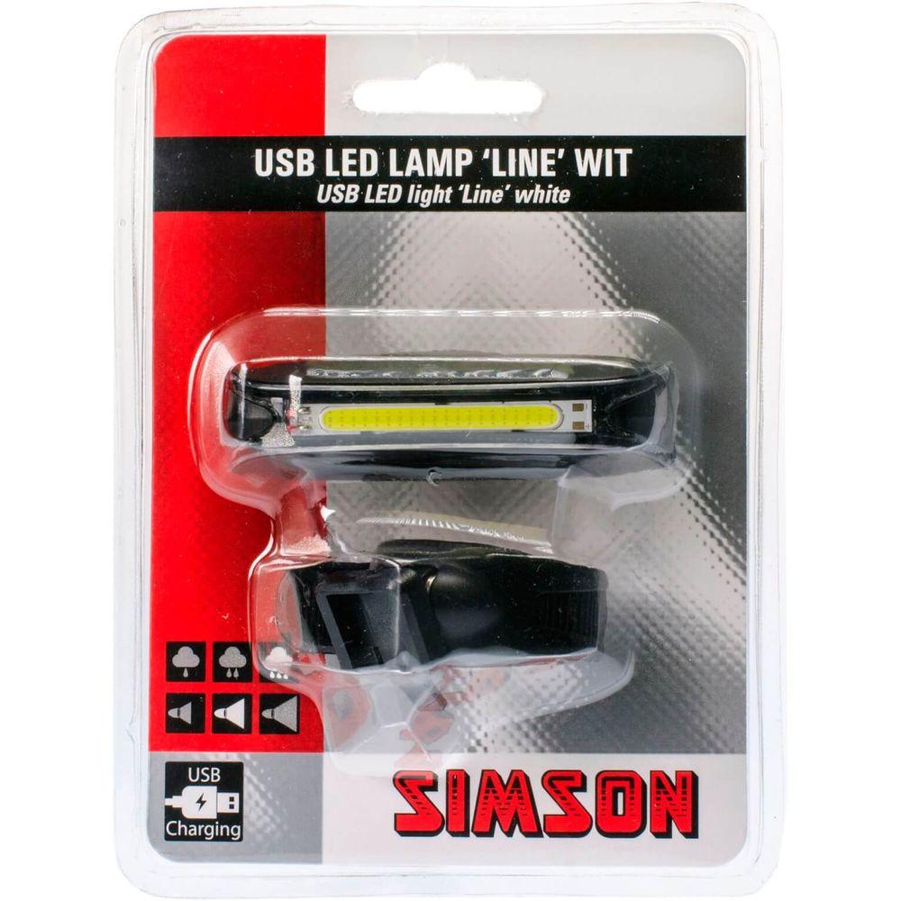 Simson koplamp voor line led usb stuurhouder 8 lux