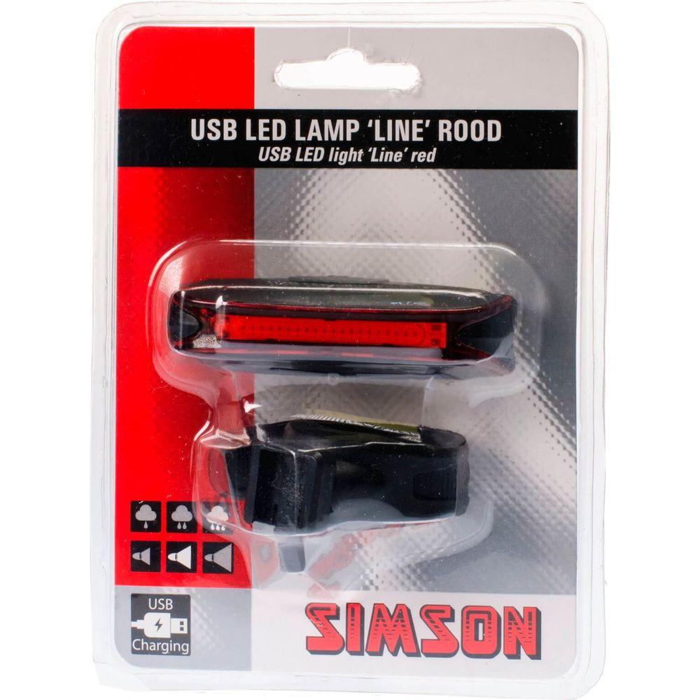 Simson USB LED lamp ''Line'' 20 LED's 3 Lux - rood