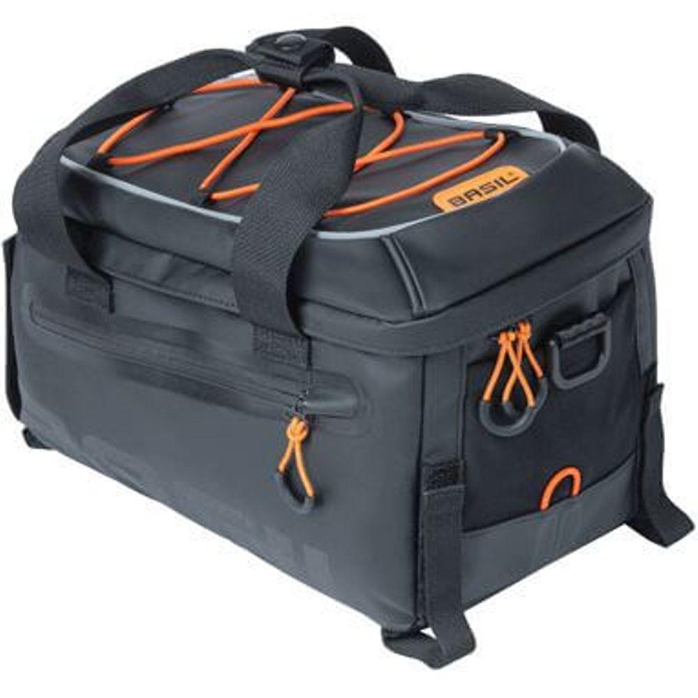 Basil dragertas Miles Tarpaulin trunkbag zwart oranje