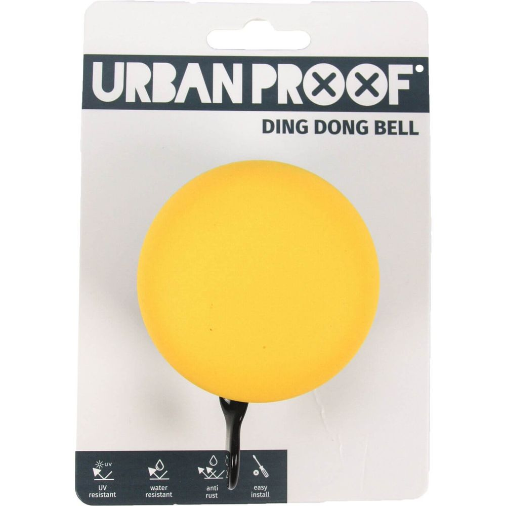 Urban Proof bel Ding Dong 60mm mat grijs / okergeel