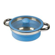 Bo-Camp - Pan met deksel - Siliconen - Opvouwbaar - Blauw