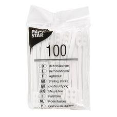 Papstar - Roerstaafjes - Plastic - 100 Stuks - Wit