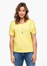 Triangle Shirt V-hals bies op mouw geel