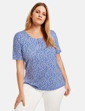 Samoon Shirt met bloemenprint blauw