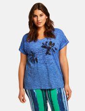 Samoon Shirt met grote bloem blauw