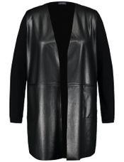 Samoon Vest gebreid fake leather voor