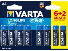 Varta batterij longlife aa lr06 blister 6+2 gratis