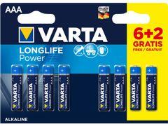 Varta batterij longlife aaa lr03 blister 6+2 grati