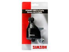 SIMSON Dynamo links met rubber loopwiel 2x2 polig. zwart