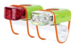 "IKZI-Light Led set voor+achter elastiek bev.""Stripties"" groen"