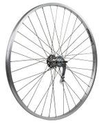 Achterwiel 28 inch, remnaaf, aluminium Rodi velg (zilver) 26mm. breed
