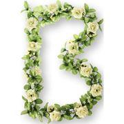 Bloemenstreng Basil  Rozen met groene takjes - Wit
