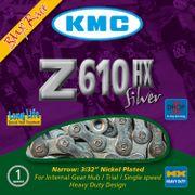 Kmc ketting 3/32 z610hx heavy duty single speed zilver