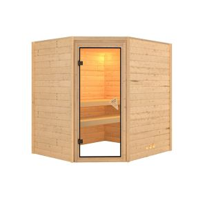 Interline Solid wood sauna Otava incl. accessories set 9 kW sauna oven, 400 V