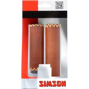 Simson handvat leer kort/lang bruin