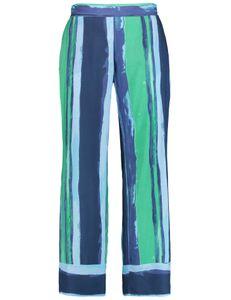 Samoon Broek blauw groen gestreept