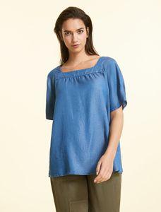 Marina Rinaldi Sport Shirt blauw tencel BALTICO