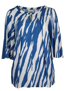 Sallie Sahne Blouse blauw witte print FIA