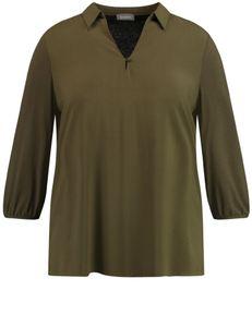 Samoon Shirt lange mouw en kraag