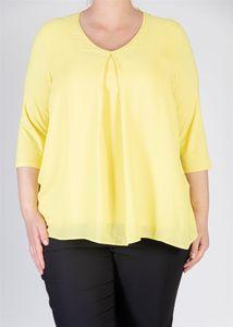 Samoon Shirt met plooi voorzijde geel