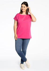 Yoek T-shirt kapmouw roze katoen
