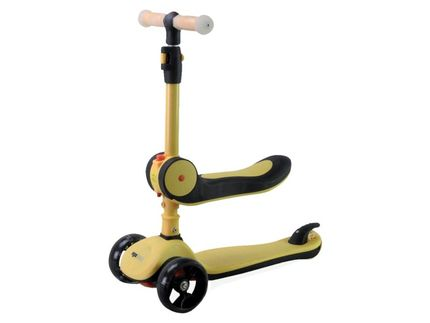 Pexkids step/scooter 2-in-1 3 wieler alu geel