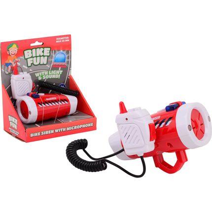 Bike Fun Brandweer sirene met fietslamp en microfoon