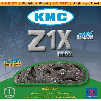 Kmc ketting 1/8 z1x inox single speed zilver