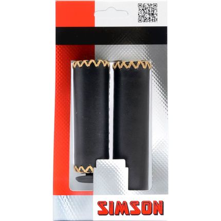 Simson handvat leer kort/lang zwart