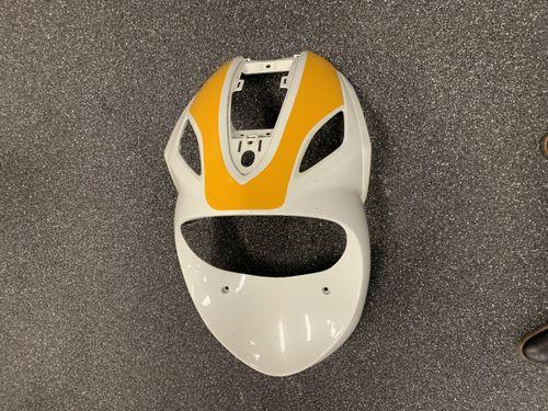 Voorkap Piaggio New Fly White Pearl / Gele Sticker Gebruikt