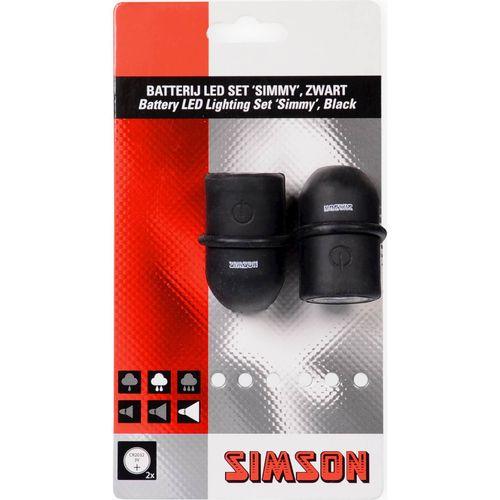 Simson batterij led set simmy zwart/zwart,3 led's,