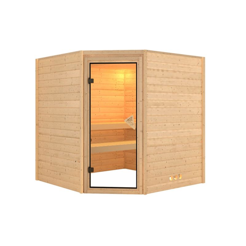 Interline Solid wood sauna Utti incl. accessories set 9 kW sauna oven, 400 V