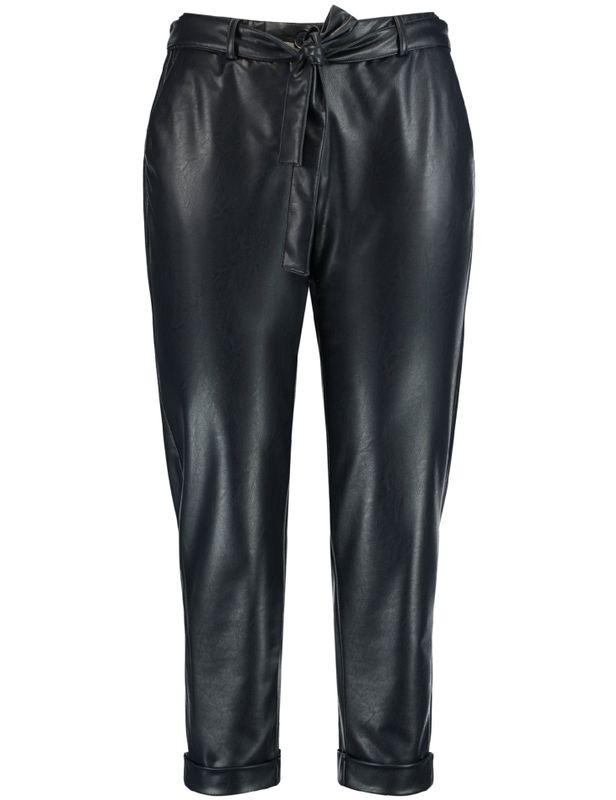 Samoon Broek fake leather blauw