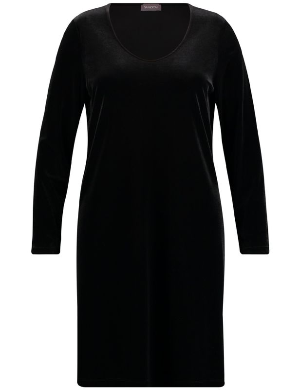 Samoon Jurk V-hals velvet zwart