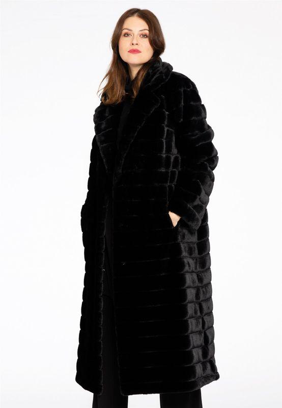 Yoek Mantel fake fur zwart
