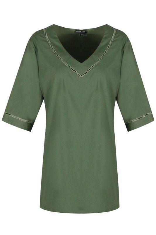 Exxcellent Shirt V-hals groen MAAIKE