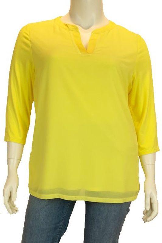 Robell Shirt V-hals lange mouw geel