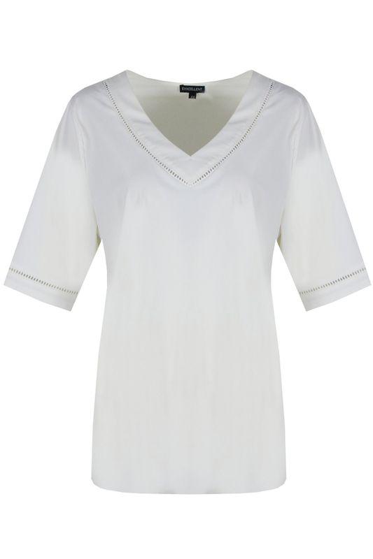Exxcellent Shirt V-hals off white MAAIKE