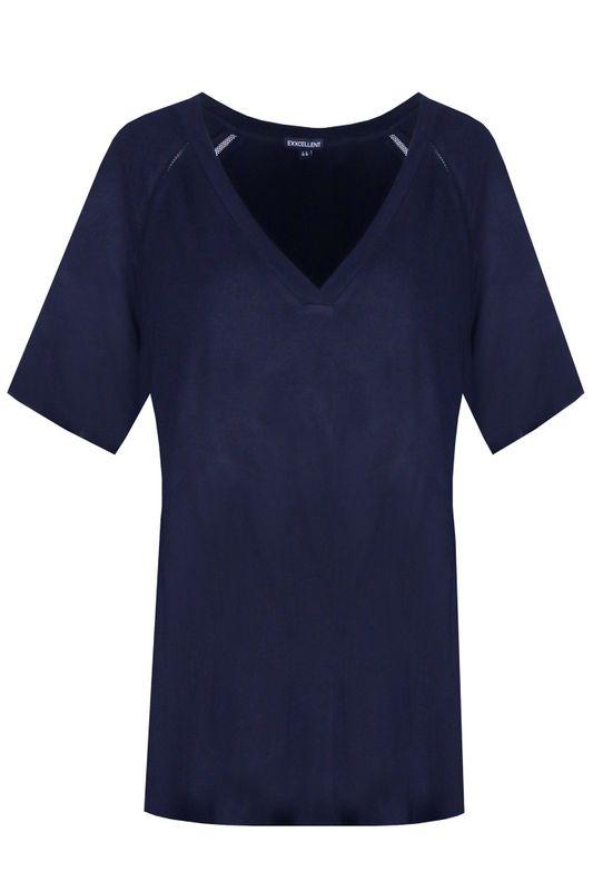 Exxcellent Shirt V-hals travel blauw MAYA