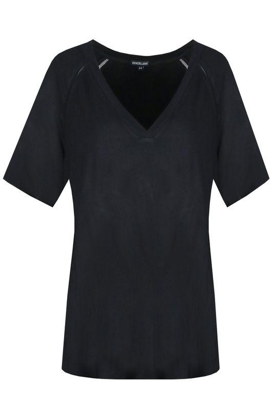 Exxcellent Shirt V-hals travel zwart MAYA