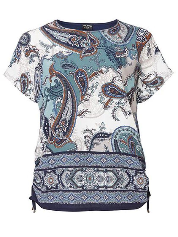 Via Appia Due Shirt met paisleymotief blauw
