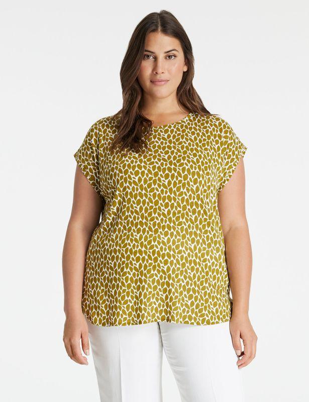Samoon Shirt met print bladeren klein