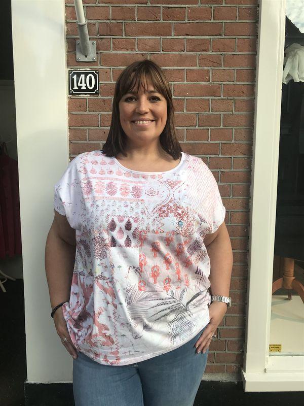 Open End Shirt met roze print