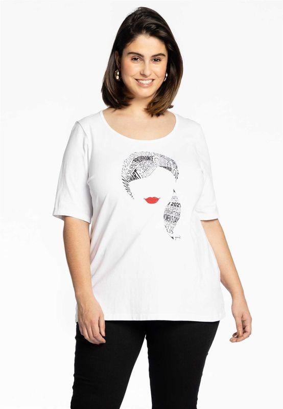 Yoek Shirt met tekst en gezicht wit